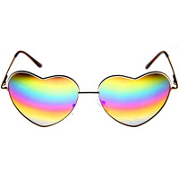 Womens Metal Frame Flash Mirror Rainbow Lens Heart Shape Sunglasses