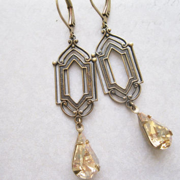 Art Deco Drop Earrings, Champagne Bridal Jewellery, Long Dangles, Bridesmaid Earrings, Antique Brass, New Years Eve