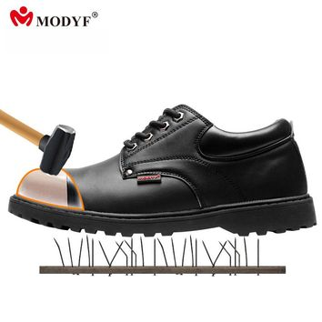 Modyf men steel toe cap work safety shoes leather casual breathable outdoor  boots puncture proof protection footwear