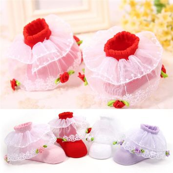 Baby Girl Ankle Princess Lace Bow-knots Floral Socks