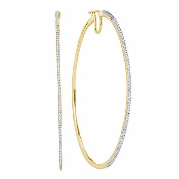 10kt Yellow Gold Women's Diamond Large Hoop Earrings 3-4 Cttw - FREE Shipping (US/CAN)