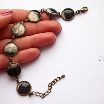 Moon Phase Bracelet, Phases of the Moon, Space Jewelry, Galaxy Jewelry, Moon Cycle, Lunar Eclipse
