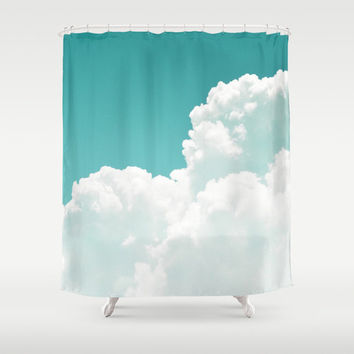Mint Sky - Shower Curtain, Ombre Style White Cloudscape, Bathroom Tub Hanging Backdrop Accent Curtain, Boho Chic Interiors. In 71x74 Inches
