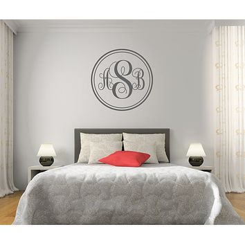 The Solid Dark Gray Script Monogram V1 Wall Decal