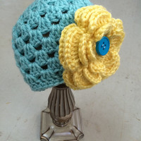 Girls Hat, Teal and Yellow Hat, Hat, Baby Girl Hat, Fabric Flower Hat, Hat, Beanie, Girl, Baby, Newborn, Flower, Flower with Button