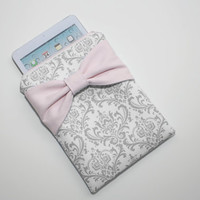 iPad Mini, Kindle, Nook, eReader Case - Gray and White Damask Light Pink Bow - Padded