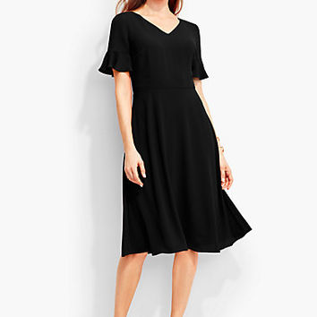 Flounced-Sleeve Fit-And-Flare Dress - Talbots