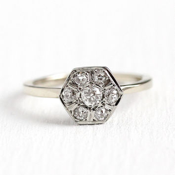 Diamond Cluster Ring - 14k White Gold .34 ctw Old European Cut Engagement - Art Deco 1920s Size 5 Bridal Fine Hexagonal Halo Jewelry