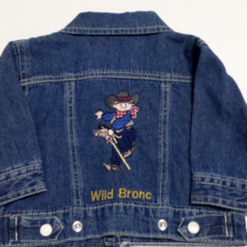 Children's clothing , Boy's denim jacket , Cowboys , Little Cowboys , Rodeo , Children's jackets , embroidered jackets , newborn clothing