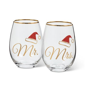 Mr. and Mrs. Stemless Christmas Wine Glass Set