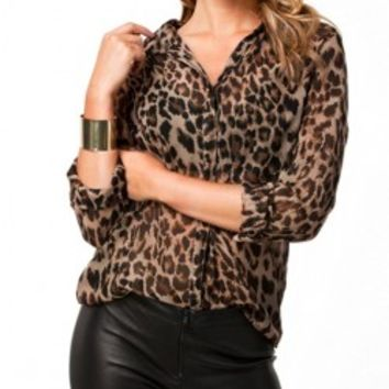Leopard Stripe Loose Fit Blouse