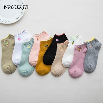 [WPLOIKJD]Embroidery Fruit Pineapple Strawberry Watermelon Socks Cute Ankle Socks Women Harajuku Japanese Kawaii Cherry Ice crea