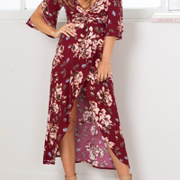 Burgundy Plunge Floral Flared Sleeve Wrap Front Dress