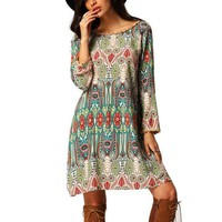 DCCKHY9 2016 Summer Vintage Ethnic Dress Sexy Women Boho Floral Printed Casual Beach Dress Loose Sundress