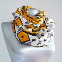 Handmade Ethnic Infinity Scarf - Linen - Mustard Brown White - Winter Autumn Scarf - Men Unisex Scarf