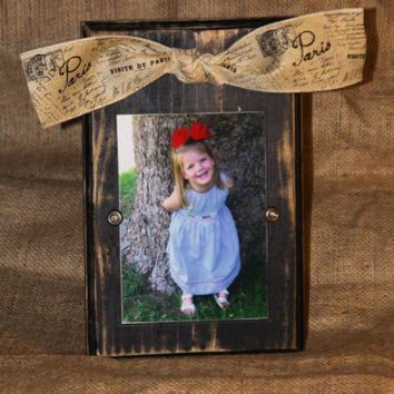 Distressed black block picture frame with decorative bow for 4x6 or 5x7 photo