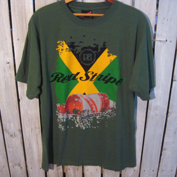 Red Stripe Jamaica T-Shirt Size XL. Upcycled Clothing