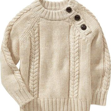 Old Navy Cable Knit Shoulder Button Sweaters For Baby