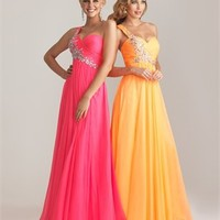 Chiffon Ruched Empire Beaded Strap Prom Dresses PD2102