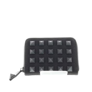Black Studded Canvas Small Zip Wallet