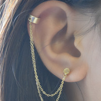 Double Chain Cuff Gold Earring