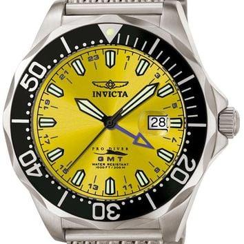 Invicta 6350 Men's Grand Pro Diver GMT Mesh Stainless Steel Watch
