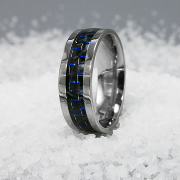 Mens ring, Mens stainless steel ring, Men's Steel Ring, Mens Casual Ring, Blue Carbon Fiber Inlay ring, Mens wedding band, Mens classic ring