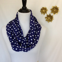 Blue and white polka dot Infinity scarf, Polka dot infinity scarf, infinity scarf, polka dot scarf, bridesmaid gift