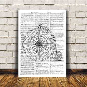 Antique art Modern decor Bicycle poster Vintage print RTA70
