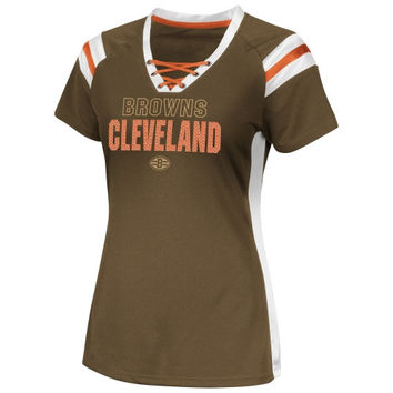 Cleveland Browns Women's Draft Me VI Fashion T-Shirt - Brown