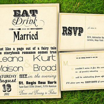 Vintage Rustic Elegant Gold Steampunk Old Fashioned Customizable Wedding Invitation Card - DIY Printable