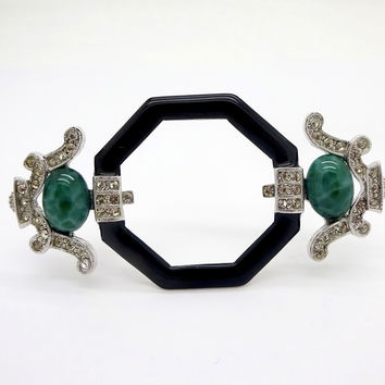 ART DECO INC. Silver Tone Rhinestone Black Enamel Green Cabochon Pin Art Deco 89