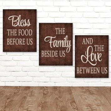 KITCHEN Wall Art, Canvas or Prints, Kitchen Quote Decor, Bless the Food, Family Love Between Us, Kitchen Pictures, Kitchen Artwork, Set of 3