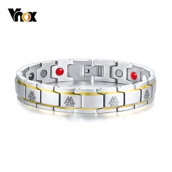 Vnox Viking Rune Magnetic Bracelets for Women Men Stainless Steel Therapy Healing Bangle Nordic Mythology Amulet Pulseira
