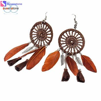 SUSENSTONE New Bohemia Feather Beads Long Design Dream Catcher Earrings for Women Jewelry