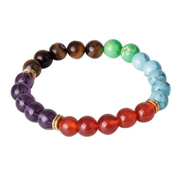 Fashion natural Color stone beads 8 mm  lucky man bracelet