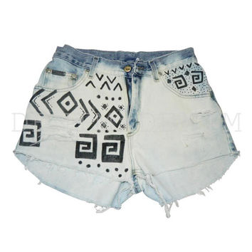 Vintage High Waisted Cutoff Tribal Print Shorts