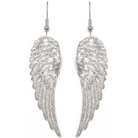 "Nickel Free 1 7/8"" Angel Wings Earrings, Quality Made in USA!, Small Earrings (1-7/8"") in Silver Tone"