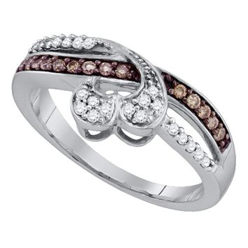 10kt White Gold Womens Round Cognac-brown Color Enhanced Diamond Heart Love Band Ring 1/4 Cttw