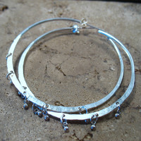 Hoop Earrings Sterling Silver Hammered with Tiny Dangles