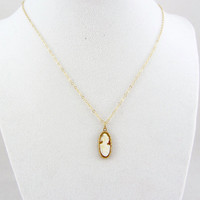 Vintage 14K Gold Cameo Pendant Yellow Gold Carved Shell Cameo Charm Necklace Fine Jewelry
