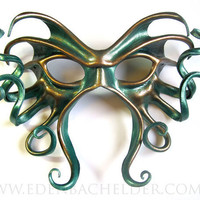 Large Cthulhu leather mask handpainted in metallic by edenbee