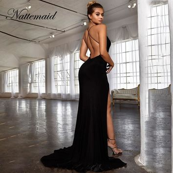 NATTEMAID Split Backless Criss Cross Sexy Dresses Woman Party Night V Neck Black Dress Elegant Summer Maxi Long Dresses Vestidos