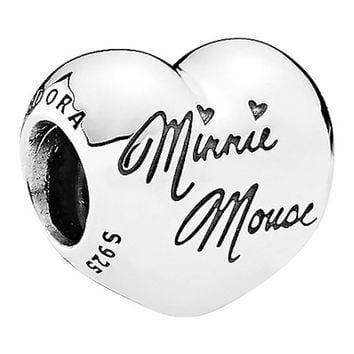 Disney Parks Minnie Mouse Heart Sterling Silver Charm Pandora New