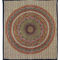 Queen Orange Multicolor Hippie Bohemian Tapestry Wall Hanging Art on RoyalFurnish.com