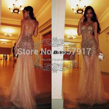 Customer Made Boutique Crystal Beaded V-neck Cross Strap Back Sexy See Through Dress Long Mermaid Prom Dress Party Dress