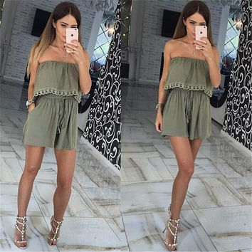 Womens Solid Sexy Strapless Jumpsuit