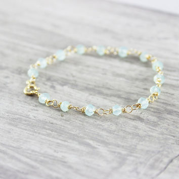 Aqua Gemstone Bracelet, Light Aqua Bracelet, Gold Fill Bracelet, Wire Wrap Bracelet, Light Blue Bracelet, Blue Gemstone Bracelet