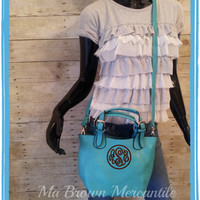 Monogrammed Small Turquoise Crossbody Bag - Convertible Personalized Purse - Teal Shoulder Bag - 2 bags in 1
