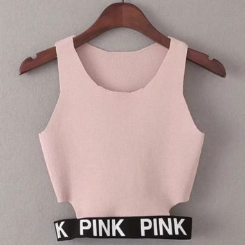 PINK Fashion Sexy Sleeveless Show Thin Monogram Knit Corp Top